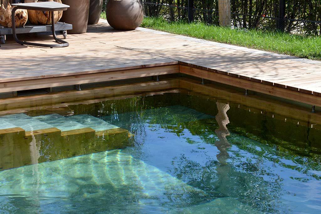 Einstieg in den Pool aus Holz und Stein